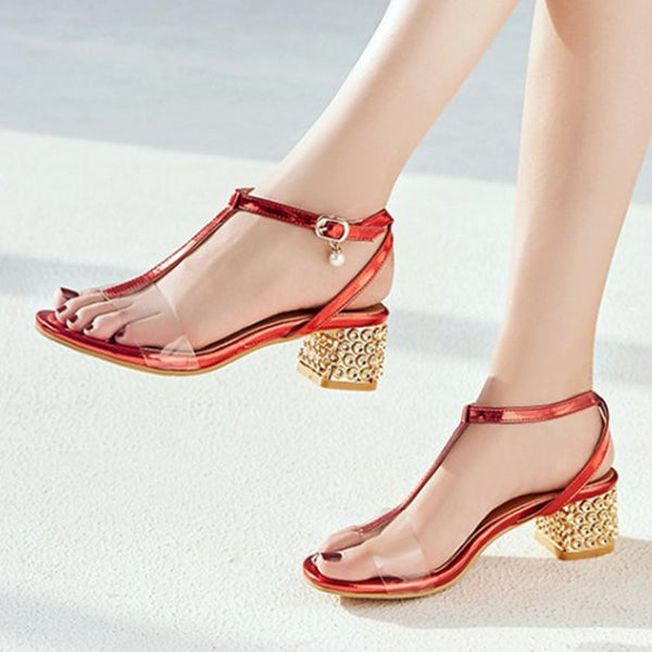 Open Toe Middle Heel Casual Summer Sandals
