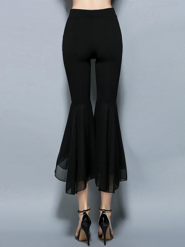 Black Pockets Chiffon Work Ruffled Wide Leg Pants