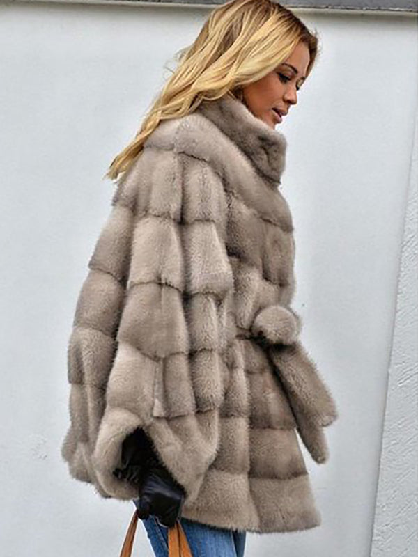 Solid Casual Batwing Fur And Shearling Coats