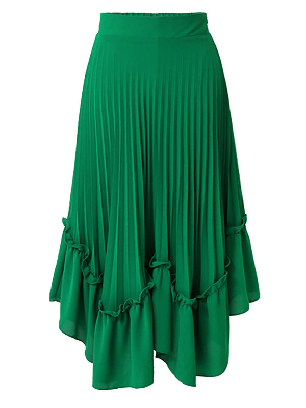 Casual A-Line Solid Ruffled Paneled Midi Skirt