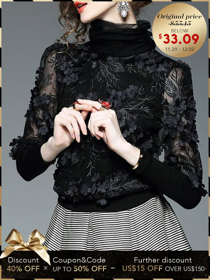 Black Appliqued Turtleneck Elegant Blouse
