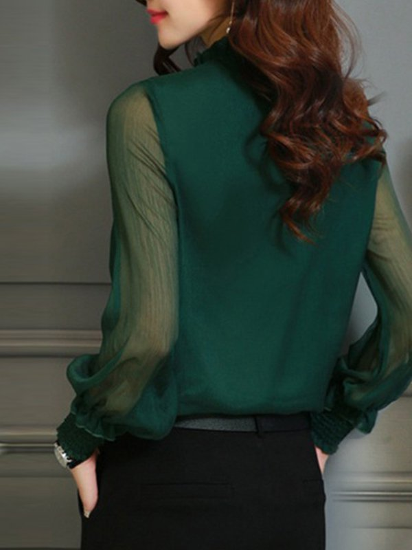 Long Sleeve Casual Frill Sleeve Blouse