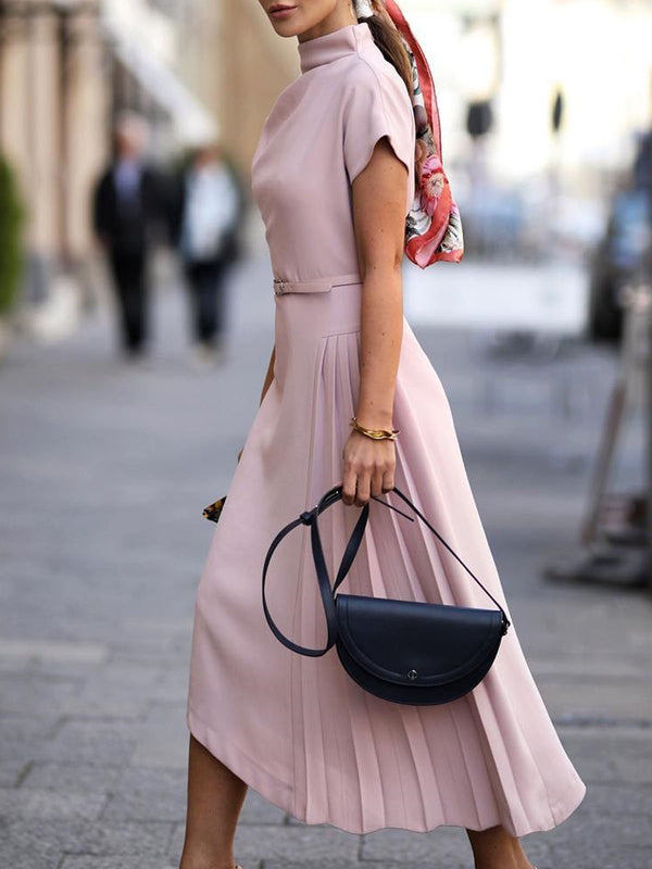 Stand Collar Pink Work Sheath Daily Elegant Solid Midi Dress