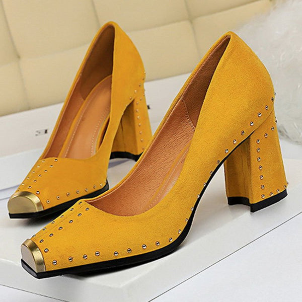 Rivet Elegant Block Heel Pumps