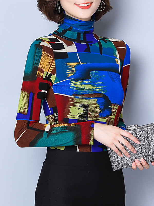 Turtle Neck Printed Color-block T-Shirt