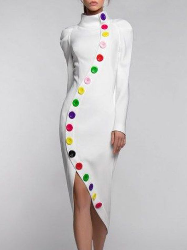 Turtleneck Party Buttoned Midi Dress