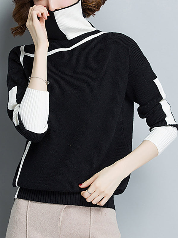 Turtleneck Color-Block  Long Sleeve Knitted Casual  Sweater