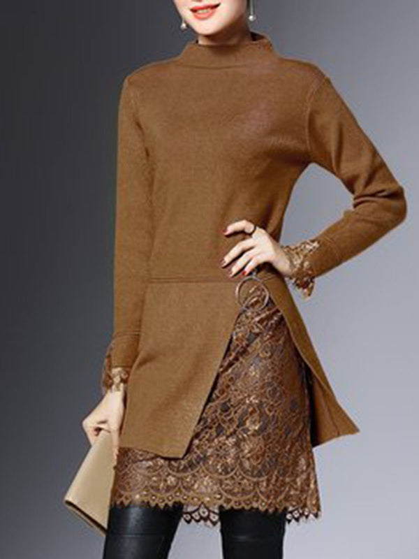 Brown Solid Long Sleeve Paneled Elegant Sweater