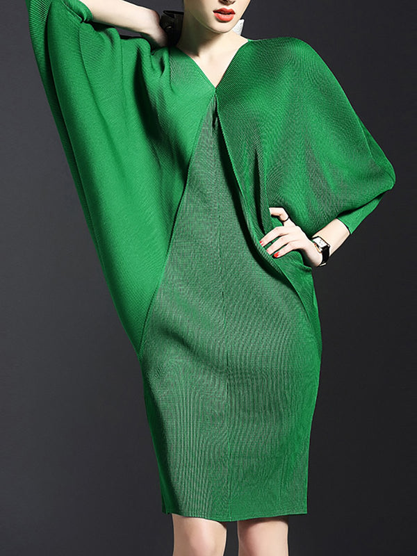 V neck Sheath Batwing Green Statement Midi Dress