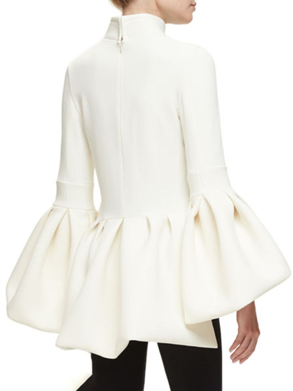 White Elegant Flounce Solid Turtleneck Top