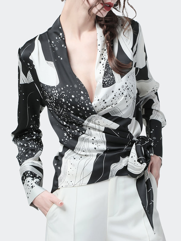 Black-White Long Sleeve Elegant Top