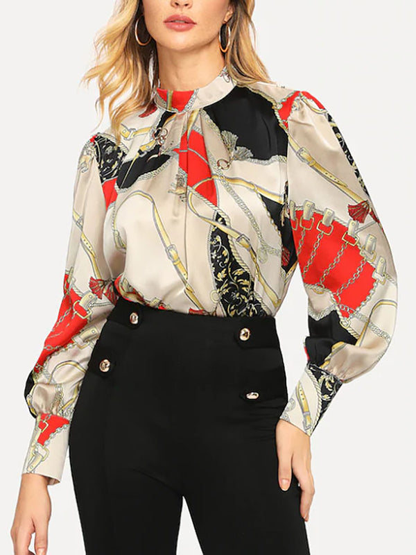 Multicolor Sheath Balloon Sleeve Stand Collar Blouse