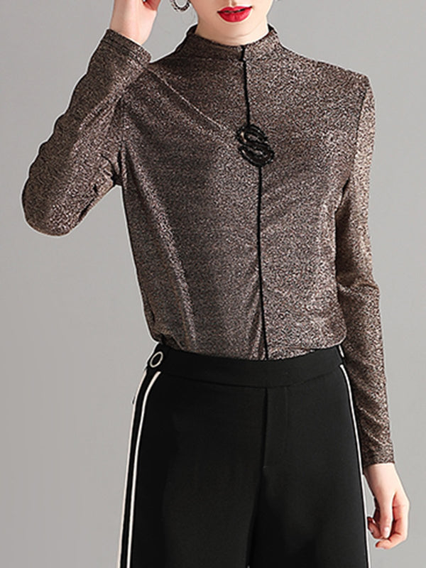 Golden Long Sleeve Knitted Casual Blouse