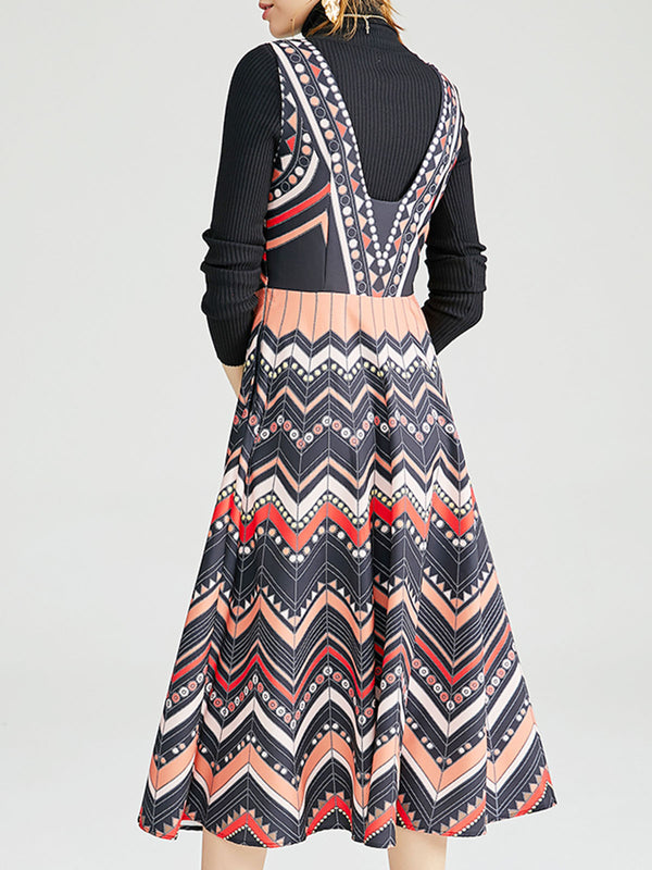 Knitted Tribal Turtleneck Top with Dress Elegant Two-Piece Set