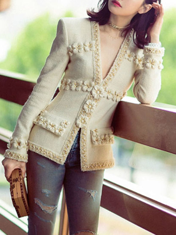 Beige V Neck Beaded Floral Elegant Coat