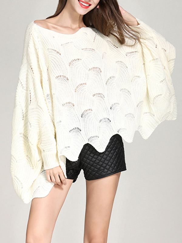 Batwing Casual Solid Daily Knitted Top