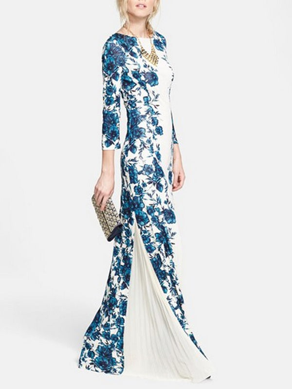 White-Blue Elegant Date Paneled Floral Maxi Dress