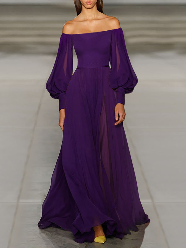 Off Shoulder Purple Prom Chiffon Maxi Dress