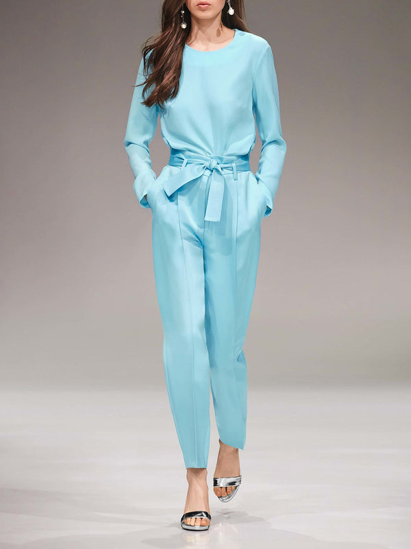 Solid Elegant Top With Pants Two-piece Set