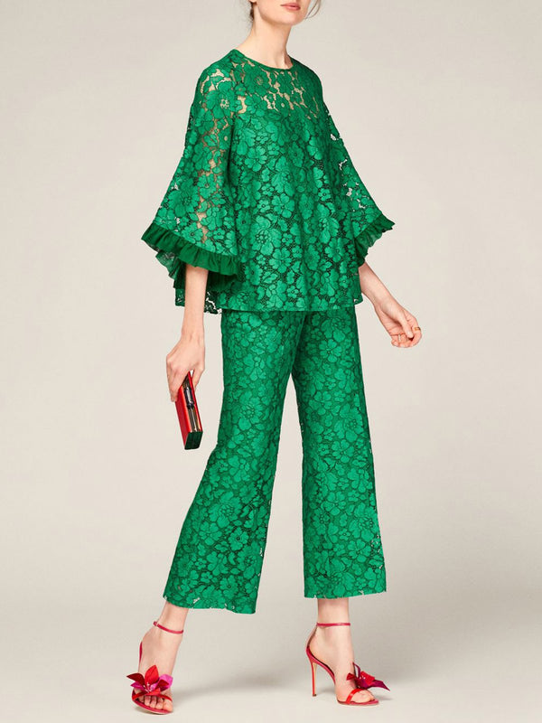 Green Casual Guipure Lace Top With Pants Set