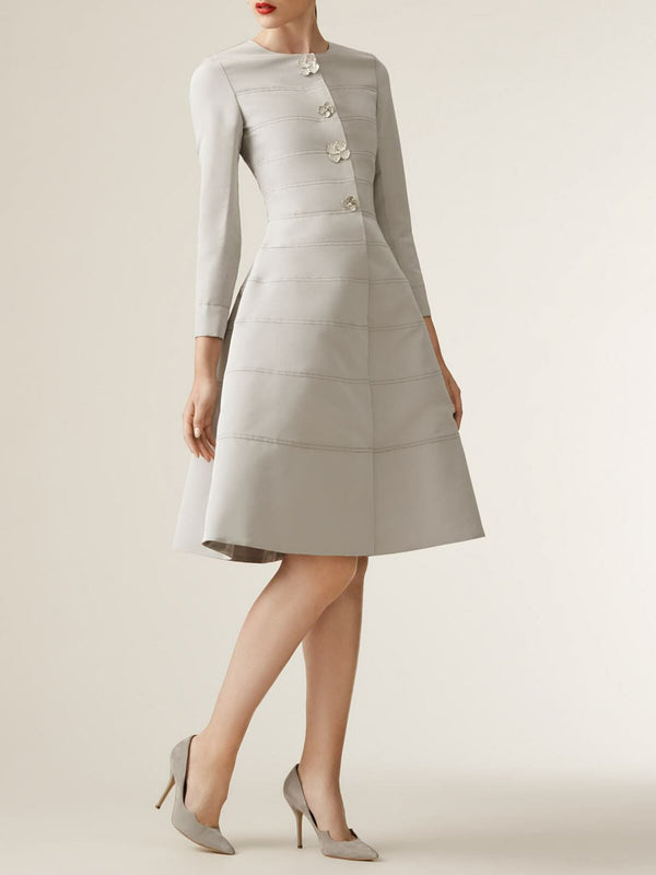 Light Gray A-Line Solid Elegant Midi Dress