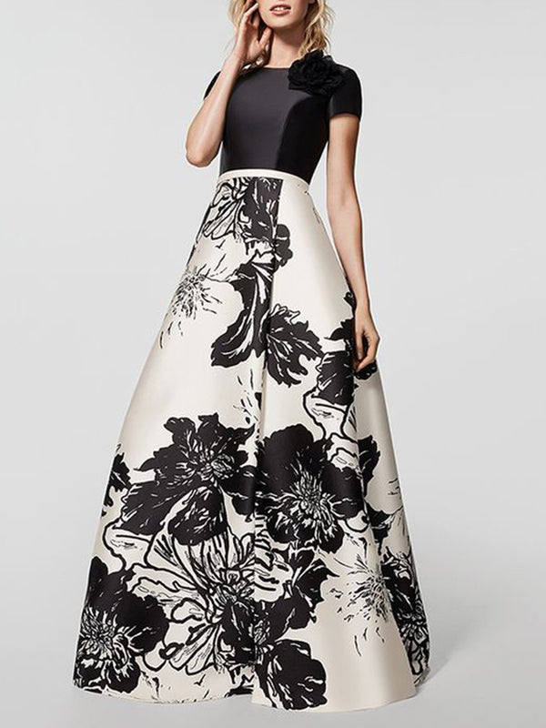 Ball Gown Paneled Elegant Maxi Dress