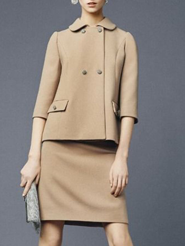 Shirt Collar Elegant Coat With Skirt Set
