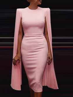 Elegant Cocktail Prom Solid Midi Dress
