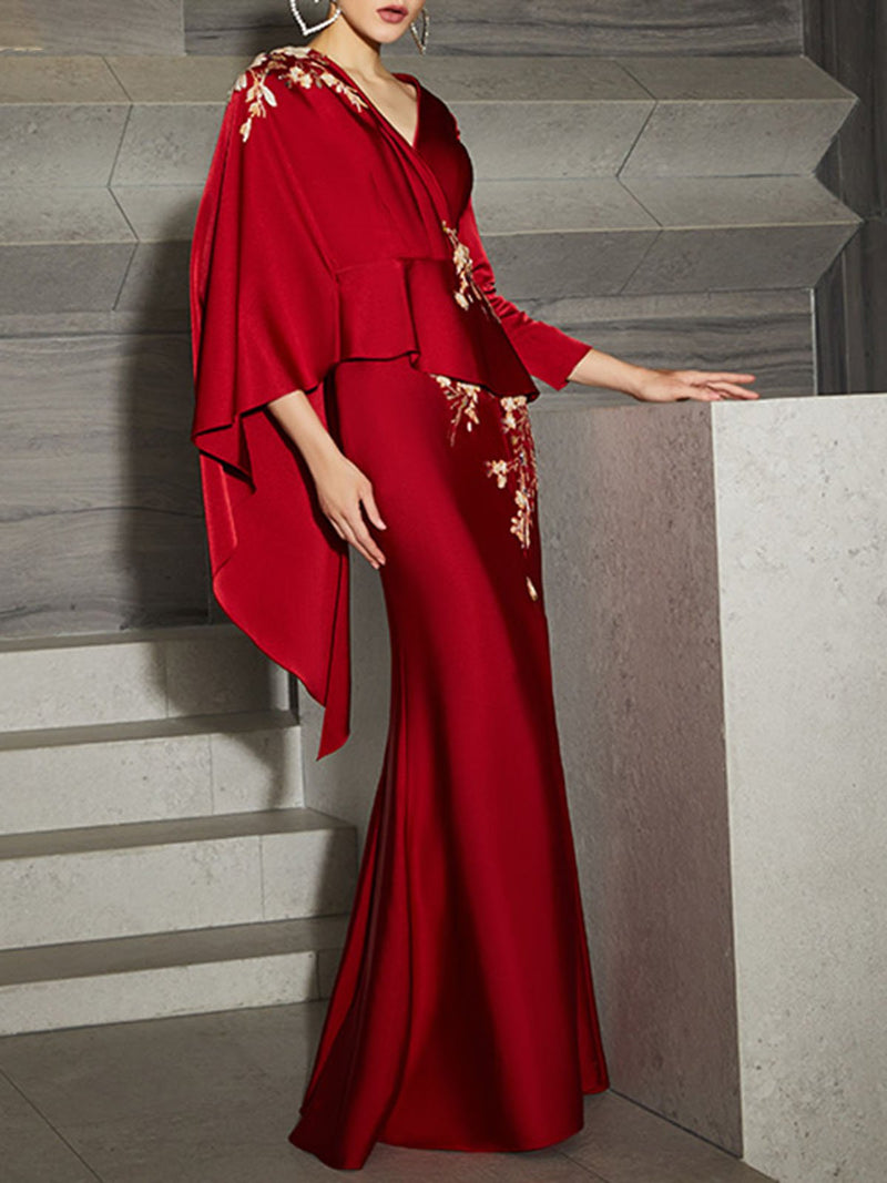 V Neck Red Evening Slit Elegant Maxi Dress
