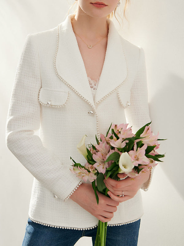 Lapel Elegant Beaded Solid Blazer