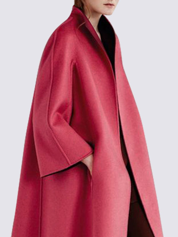 Coral Pockets Long Sleeve Solid Elegant Coat