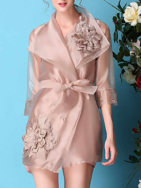Sheath Elegant Floral Embroidered Trench Coat