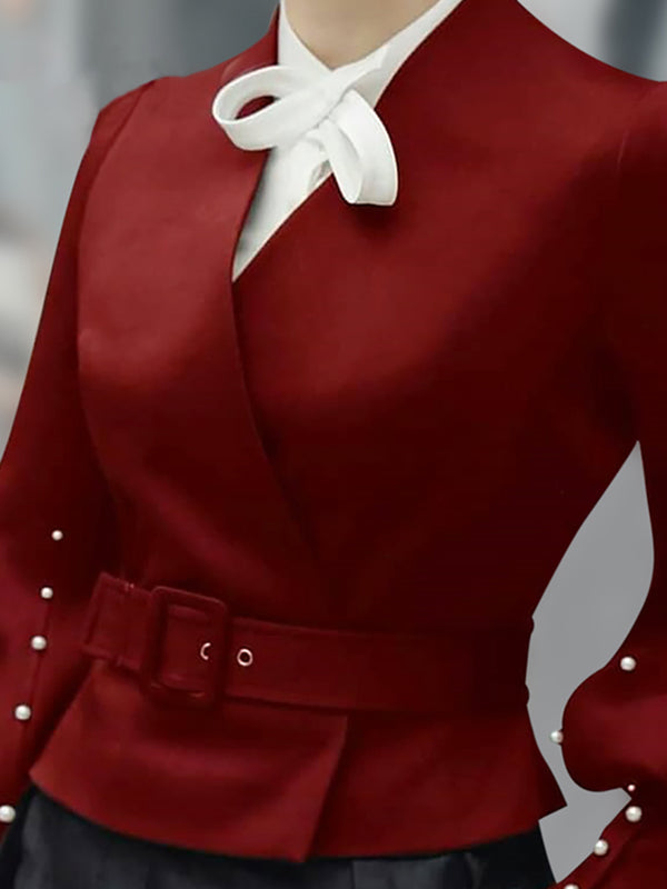 Red Beaded Solid Elegant Sheath Blazer