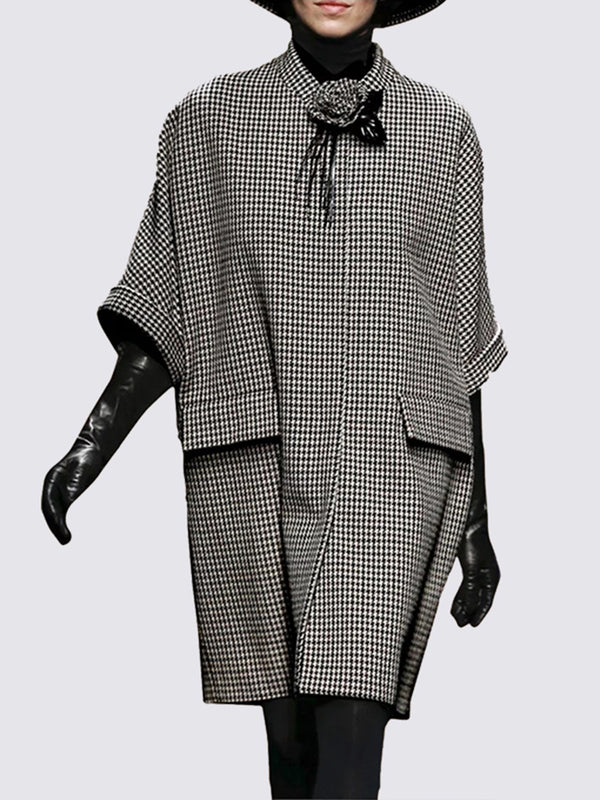 Stand Collar Pockets Daily Houndstooth Casual Midi Dress