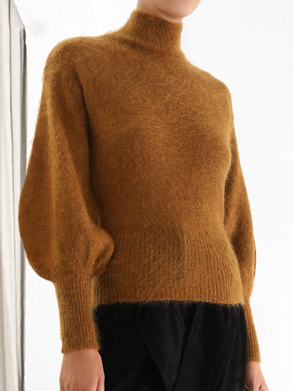 Brown Elegant Sheath Sweater