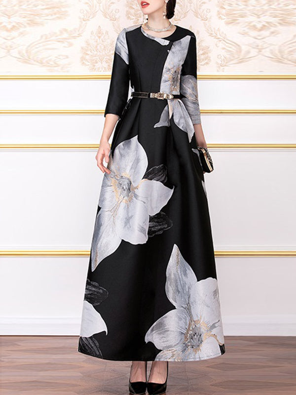 Elegant Floral A-Line Evening Maxi Dress