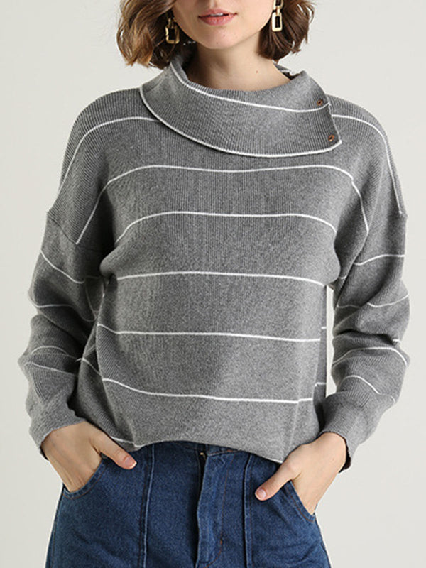 Striped Turtleneck Buttoned Casual Sweater