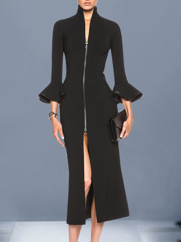 Stand Collar Date Slit Elegant Midi Dress