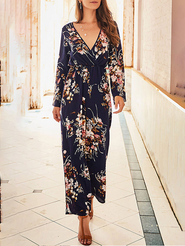 Surplice Neck Printed Floral Jumpsuit