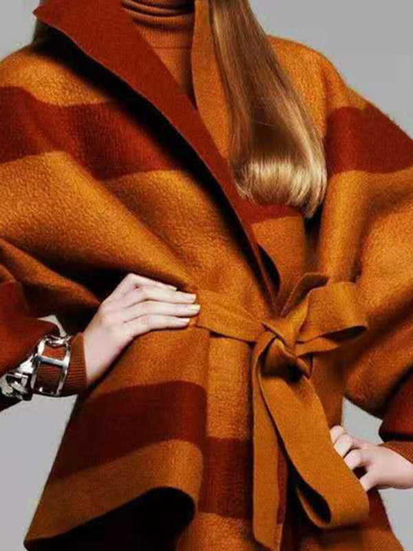 Brown Stripes Color-Block Shift Elegant Coat