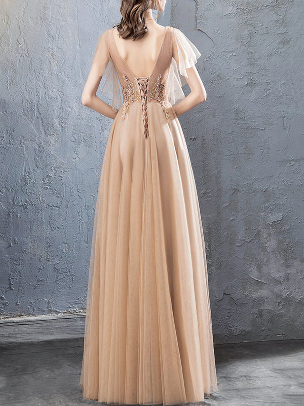V Neck Champagne Wedding Prom Elegant Embroidered Maxi Dress