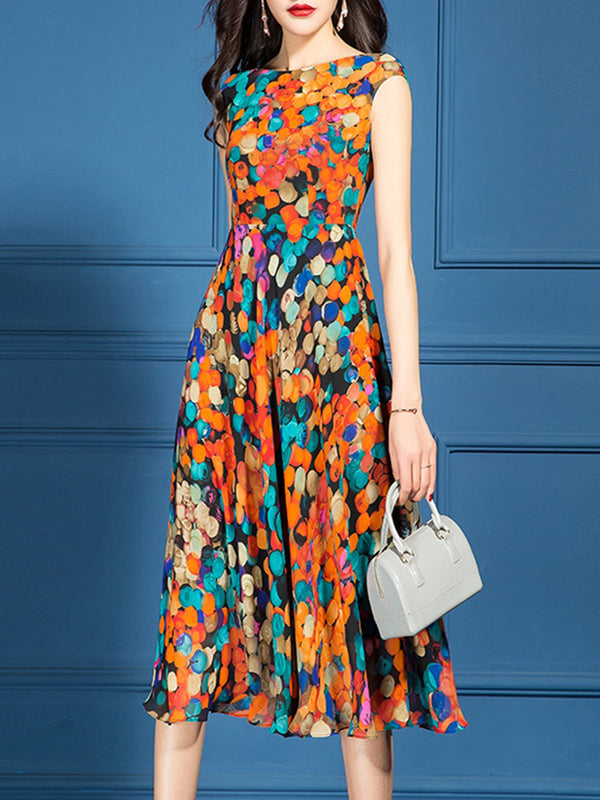 Bateau/boat Neck Printed/Dyed Summer Holiday Midi Dress