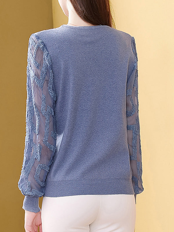 Blue Elegant V Neck See-Through Look Sweater