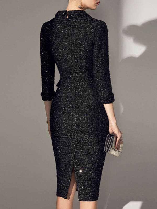Buttoned Sheath Lapel Elegant Midi Dress