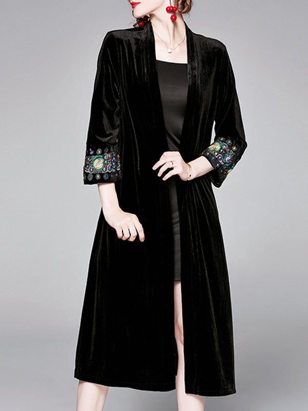 Black Casual Embroidered Coat