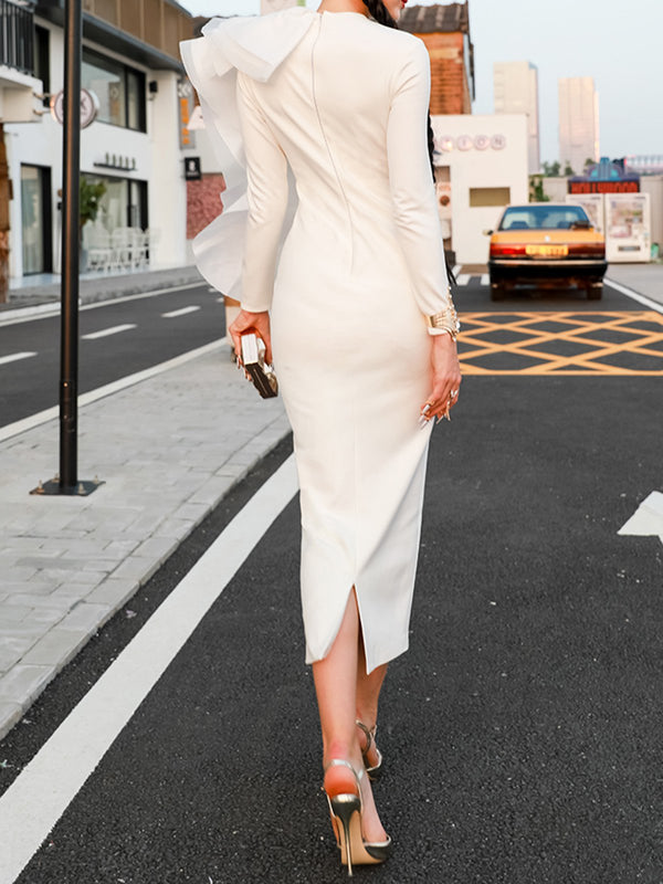 White Sheath Evening Ruffled Elegant Maxi Dress