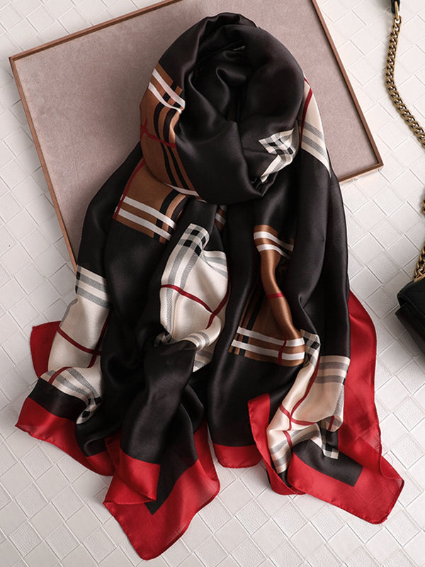 Daily Casual Silk Blend Plaid Printed Spring Summer Women Scarf