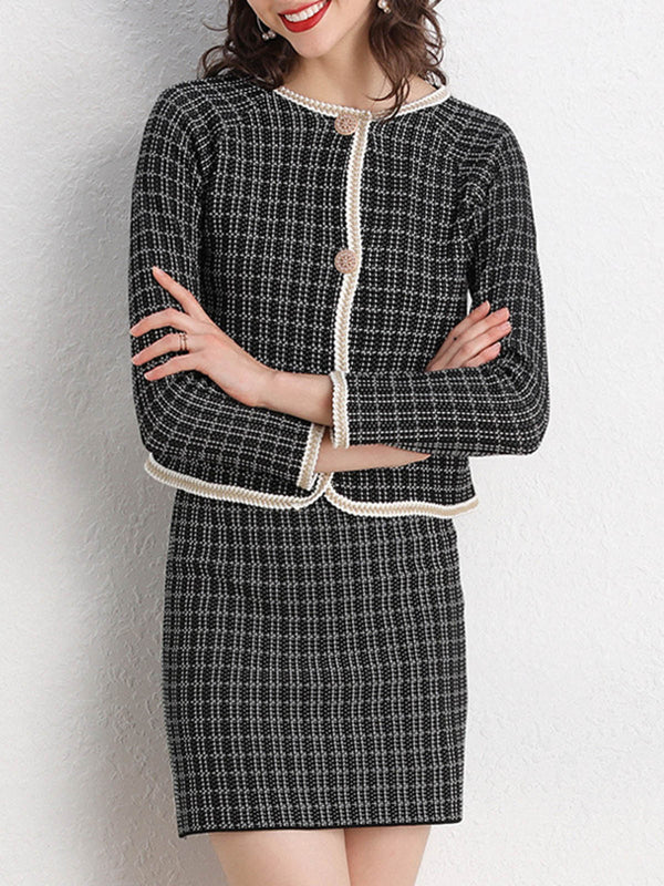Date Work Coat With Skirt Set