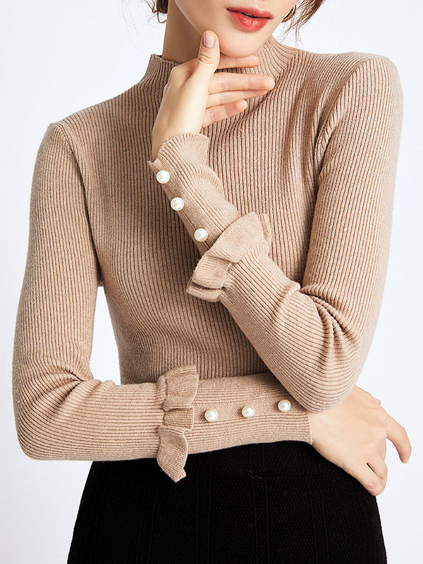 Khaki Elegant Stand Collar Beaded Sweater