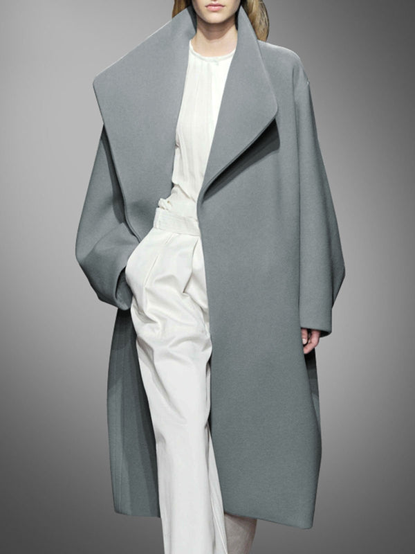Gray Shift Long Sleeve Solid Coat